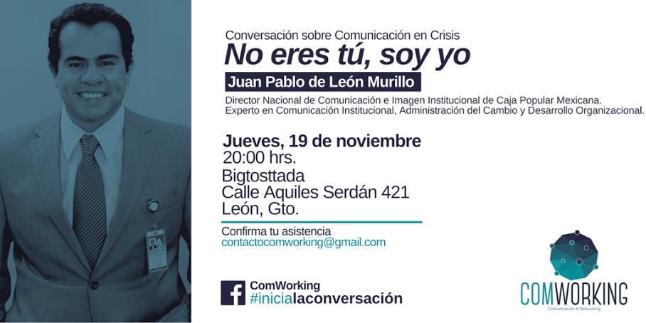 Comworking invita a 1a Charla. Comunicación en Crisis.
